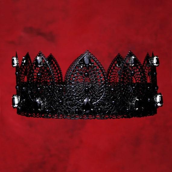 Halloween costume, crown performance black crown PARIS Black Evil Crown Women baroque crown tiara Gothic dark queen queen crown