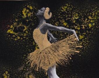 Ballerina Moon Teal Night Tree Modern Dance Art Girls Room Matted Picture A615