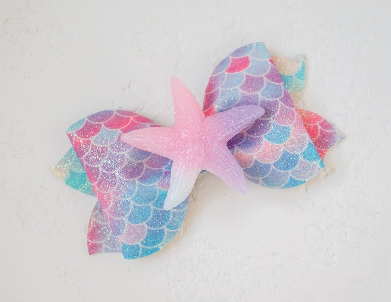 Starfish glitter hair bow Mermaid glitter scale bows Glitter faux leather bow Starfish beach hair bow Mermaid hair clip Starfish headband