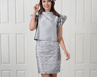 FORMAL DRESS / Mother of the Bride - Short dress made from  jacquard fabric and charming romantic bolero - Made to Order