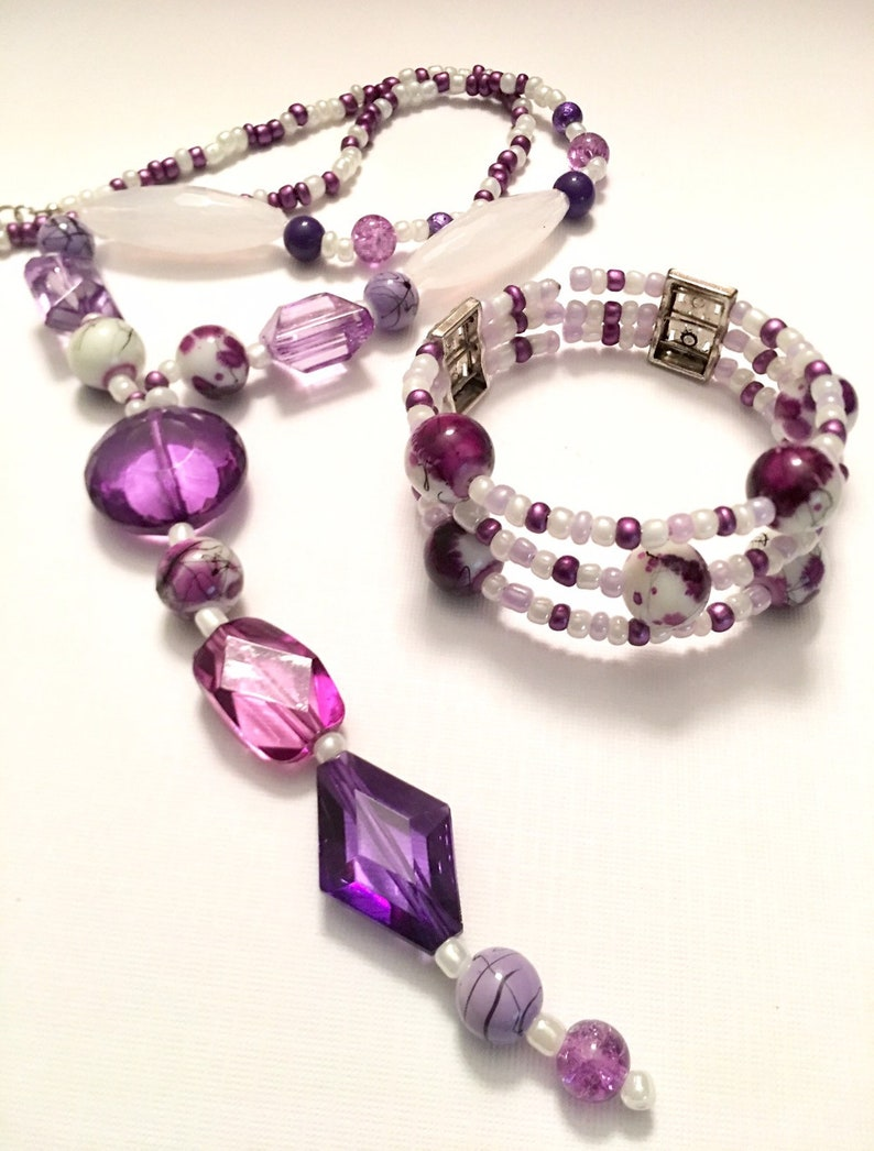Purple and White long dangle beaded necklace with matching bracelet