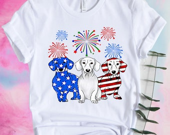 f9b7b2cc9 4th Of July Dachshund Red White Blue Shirt, Merica Dog shirt, America  Dachshund Shirt, Patriotic USA, American Flag Dog, Memorial Day Shirt,