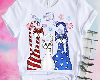 22ec3a02 4th Of July Cat Red White Blue Cats Shirt, American Americat Shirt, Patriotic  USA, American Flag Cat, Memorial Day Shirt, Independence Day