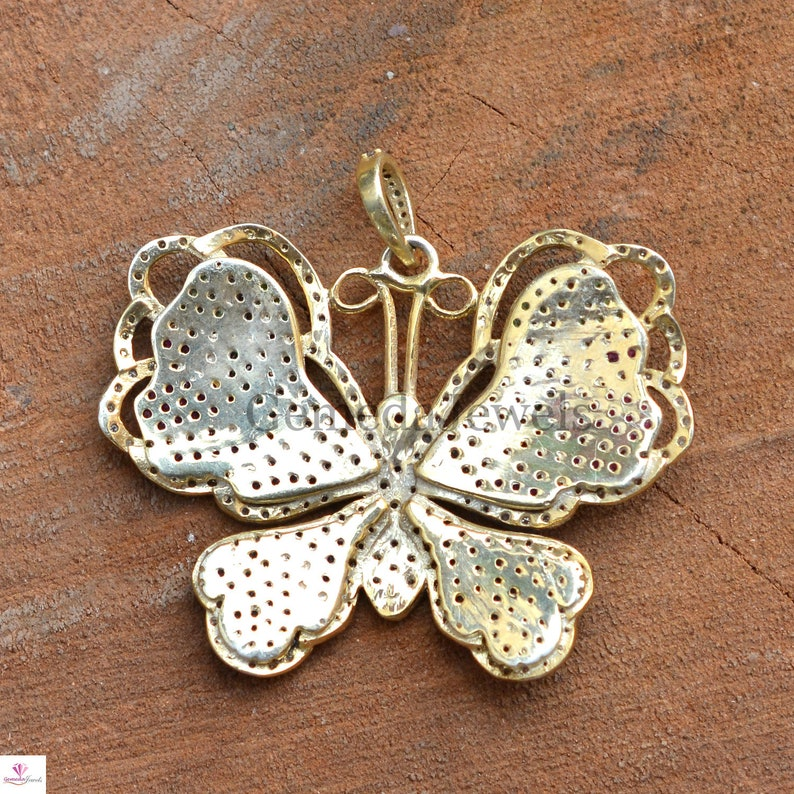 Women Gift Jewelry Genuine Multi-Gemstone Butterfly Pendant 925 Silver Pave Diamond Butterfly Pendant Necklace Christmas Gifts For Her