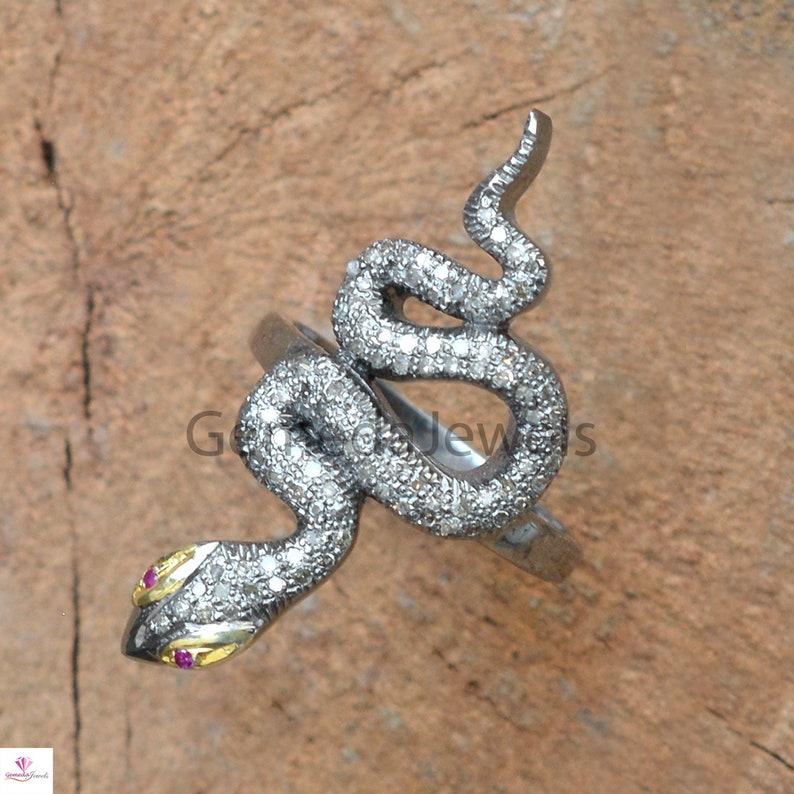 Sterling Silver Jewelry Diamond Ruby Silver Red Eye Snake Ring Labor Day Diamond Ruby Snake Pave Diamond Snake Ring Red Eye Snake Ring