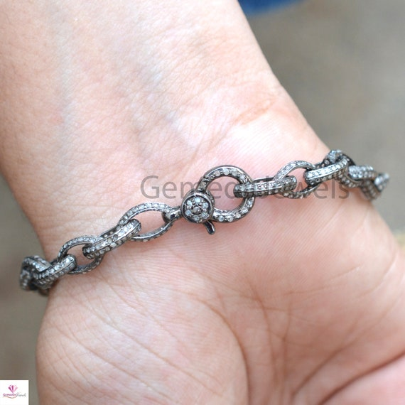 Pave Diamond Bracelet Diamond Lobster Lock Chain Bracelet Oval Connector Bracelet Diamond Jewelry Sterling Silver Customised Bracelet