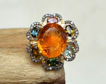 Gorgeous Citrine Silver Ring, Multi Gemstone Jewelry, 925 Silver Ring, Pave Diamond Jewelry, Yellow Gold Plated Ring, Gift For Anniversary