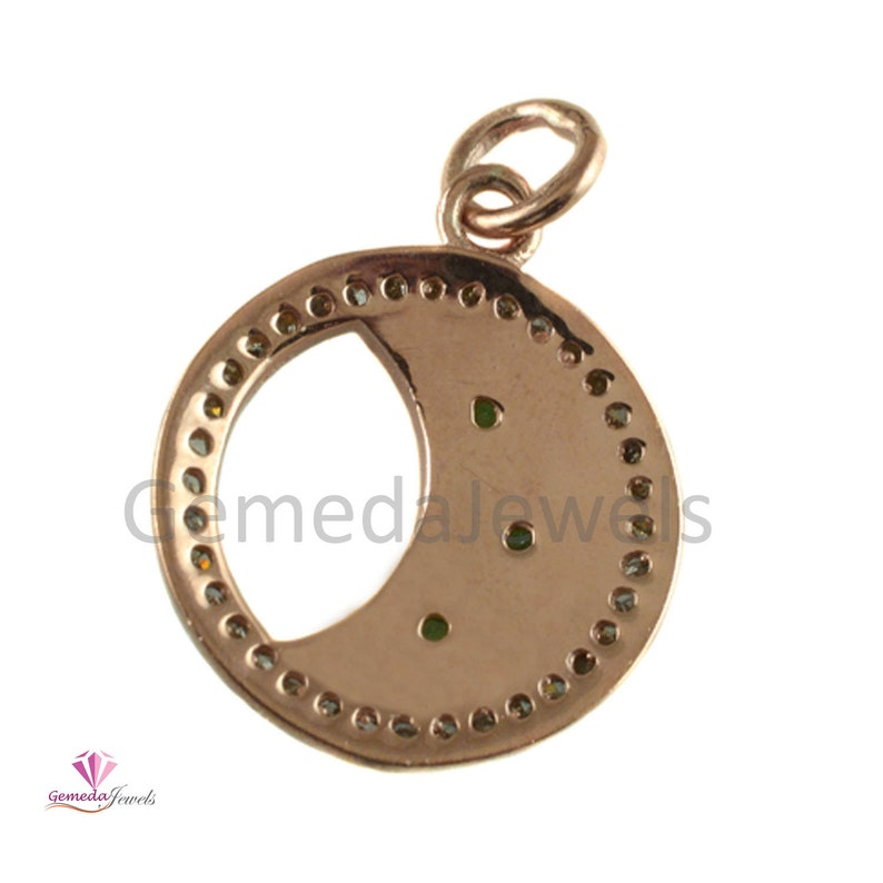 14k Yellow Gold Vermeil Pendant Pave Diamond Pendant 925 Sterling Silver Jewelry Ruby Pendant Jewelry Sapphire Emerald Charms Size 25*18 mm