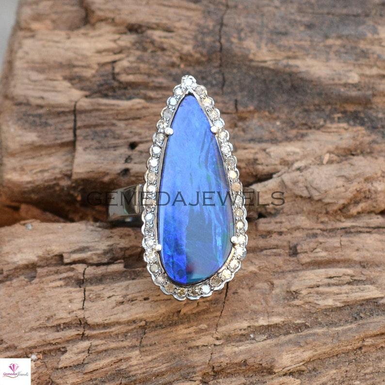 Australian Opal Ring Pave Diamond Ring October Birthstone Ring Sale! Gemstone Diamond Ring Anniversary Gift Sterling Silver Jewelry