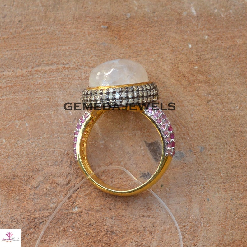 925 Silver Jewelry Gold Plated Ring Moonstone Ring Jewelry Pave Diamond Ring Rainbow Moonstone Ring Wedding Gifts Ruby Gemstone Ring