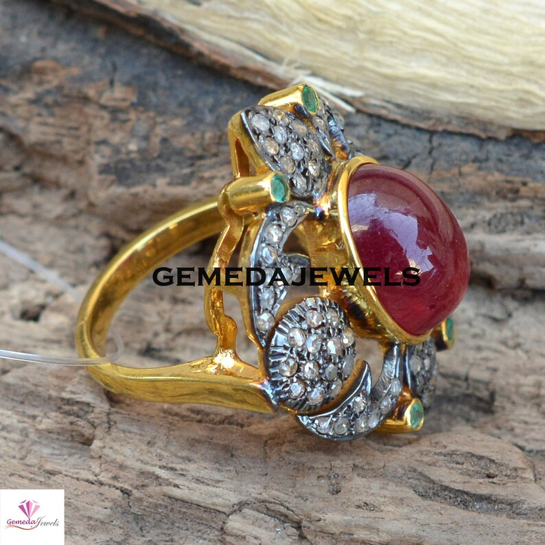 Gold Filled Ring Jewelry Sterling Silver Ring Gemstone Silver Jewelry Wedding Valentine Day Gift Pave Diamond Ring Ruby Gemstone Ring