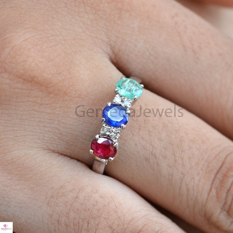 Emerald Ruby Sapphire Gemstone Ring Valentine Day Gift Diamond Silver Ring Handmade Band Ring Faceted Gemstone Ring 925 Silver Jewelry