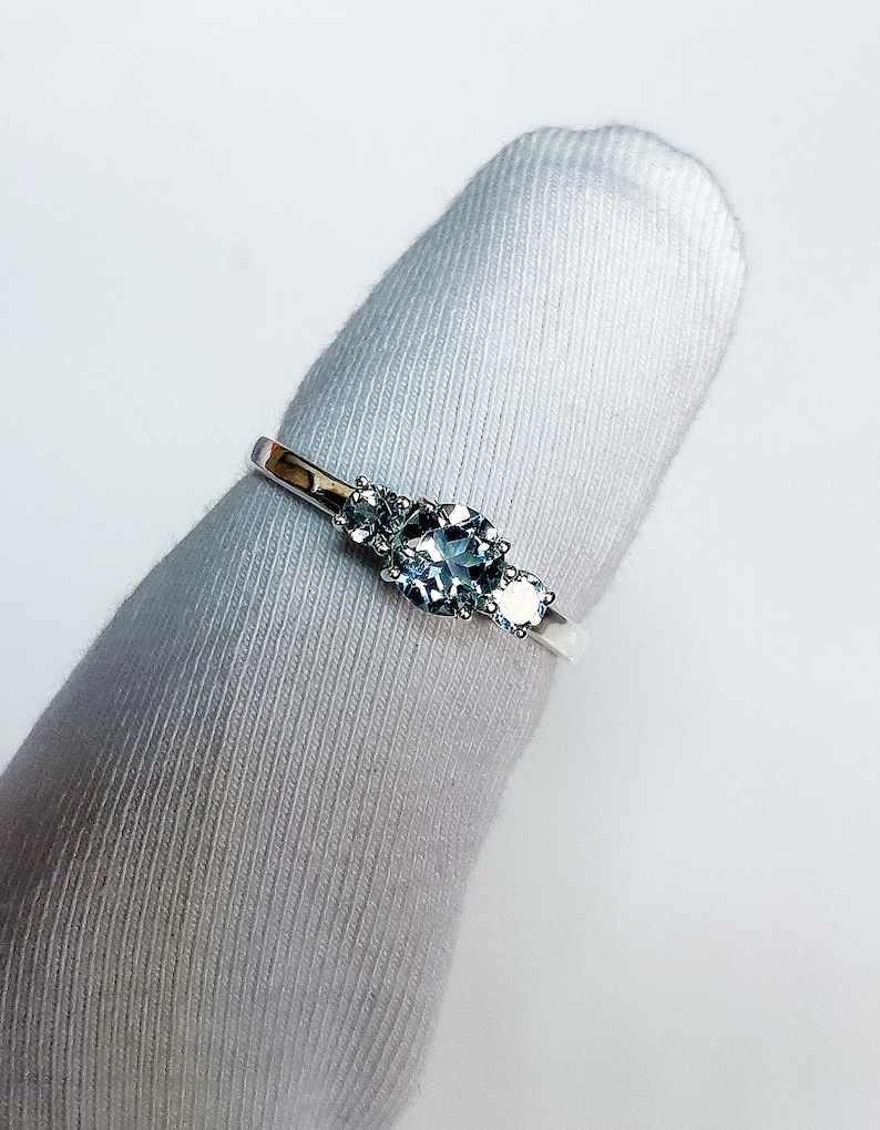 Multi stone Ring Aquamarine Engagement Ring Handmade Ring Gift For Her Anniversary Ring 925 Sterling Silver March Birthstone