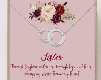 Necklace For Sister Gifts Birthday Younger Sisters Necklaces Graduation Jewelry Silver