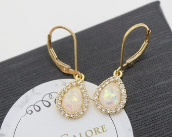 Ethiopian Opal Jewelry October Birthday Gifts for Her Fire Opal Drop Earrings in Sterling Silver or 14K Gold Filled