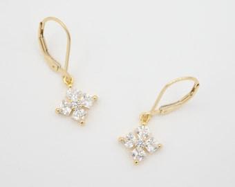 Emerald Cut Diamond Cross Dangle Earrings Religious Earrings Classic Earrings 14K Gold Filled CZ Cubic Zirconia Gift For Her