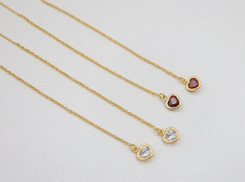 Party Jewelry Bridesmaid Gift Dainty CZ Cubic Zirconia Bridal Earrings Red Ruby Gold Filled Heart Diamond Threader Earrings