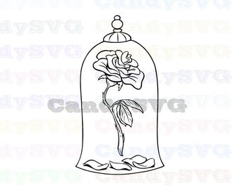 Beauty And The Beast Rose Svg Etsy