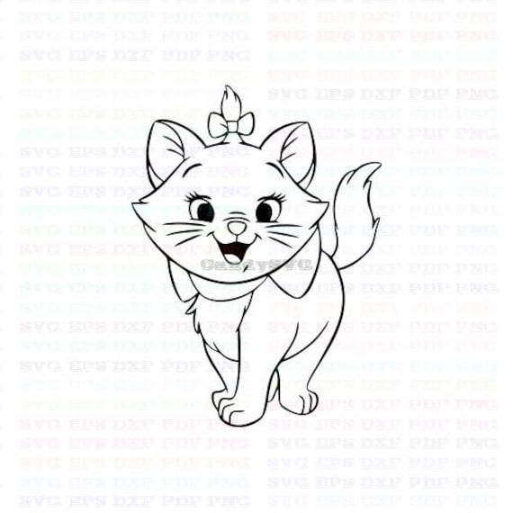 Marie The White Kitten The Aristocats 4 Stitch Outline Svg ,Stitch  silhouette ,Coloring page ,Svg Dxf Eps Pdf Png