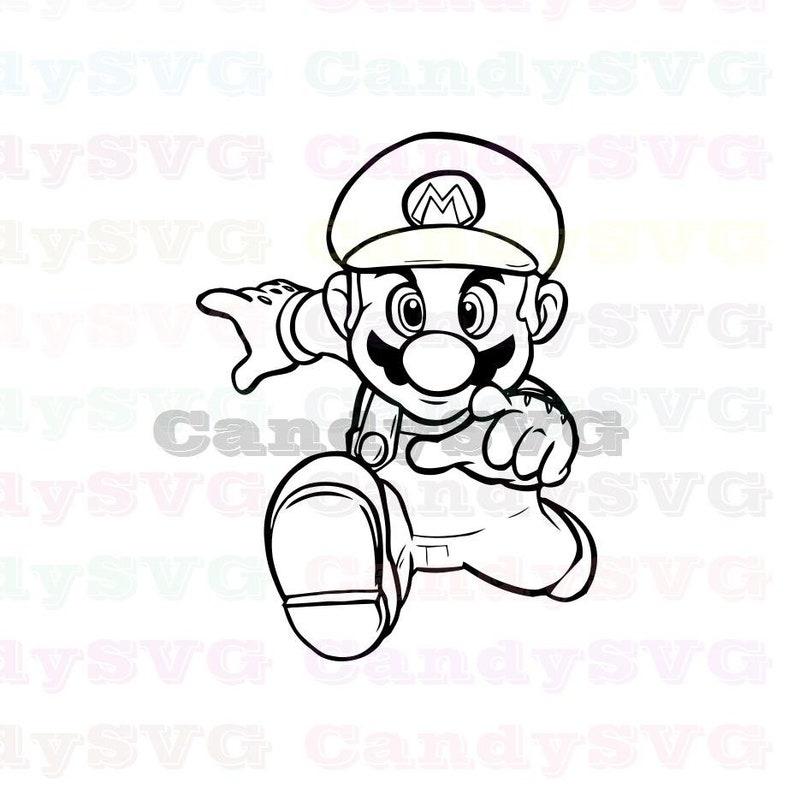 Super Mario Running Stitch Outline Svg Stitch Silhouette Etsy