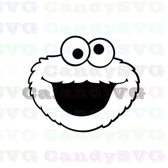 Cookie Monster Face Sesame Street Stitch Outline Svg Stitch Silhouette Coloring Page Svg Dxf Eps Pdf Png