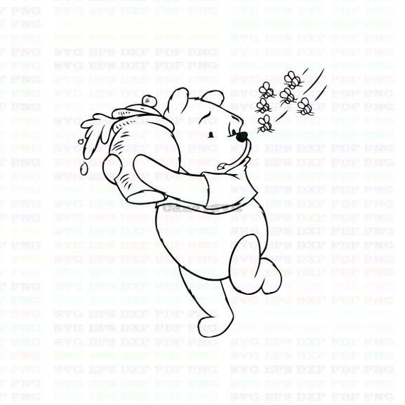Bear Winnie The Pooh 2 Stitch Outline Svg Stitch Silhouette Coloring Page Svg Dxf Eps Pdf Png