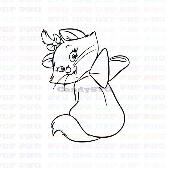 Marie The White Kitten The Aristocats 2 Stitch Outline Svg ,Stitch  silhouette ,Coloring page ,Svg Dxf Eps Pdf Png