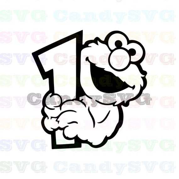 Elmo Face And Holds In His Hands Number 1 Sesame Street Stitch Outline Svg Stitch Silhouette Coloring Page Svg Dxf Eps Pdf Png