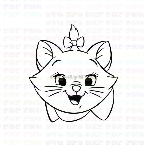 Marie The White Kitten The Aristocats 3 Stitch Outline Svg ,Stitch  silhouette ,Coloring page ,Svg Dxf Eps Pdf Png