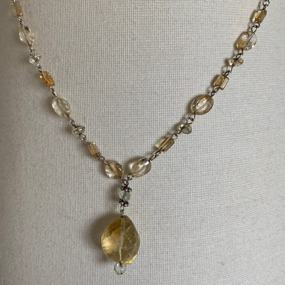 Vintage Boho Chic Citrine and Silver necklace