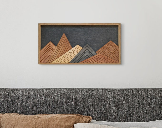 Featured listing image: Mountain Wood Wall Art, Painting Wood Wall Art, Vertical Wall Art, Wall Decor, Wood Wall Hanging, Housewarming Gift, Office Decor