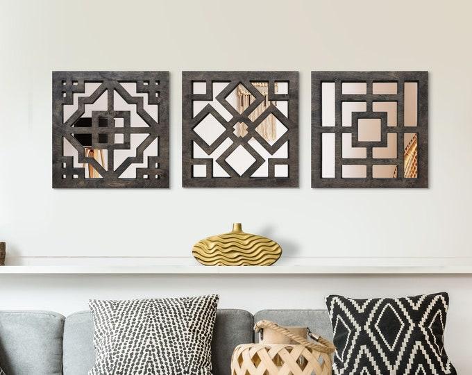 Featured listing image: Wood Mirror Zaria Bangui Asmara Wall Rectangular Framed Bathroom Decor Entryway Decor Set Of 3