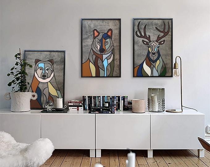 Featured listing image: Wood Wall Art, Painting,Deer, Bear, Wolf, Vertical Wall Art, Wall Decor, Wood Wall Hanging, Housewarming Gift, Painting Wall Art, Wood, Set