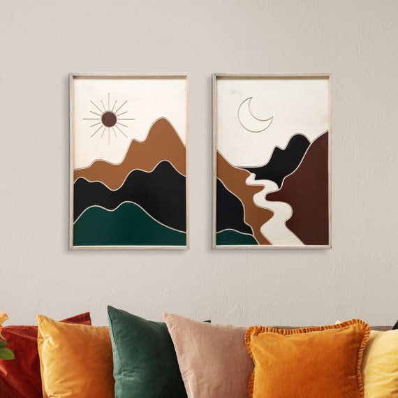 Selene, Modern Wood Wall Art, Sun and Moon Wall Decor, Desert Wall Art, Wood Wall Art, Wood Wall Hanging, Housewarming Gift