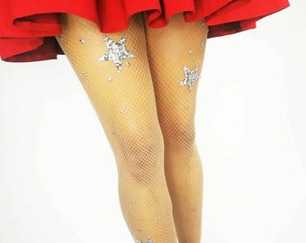 4f9729a05b11a Stars and glitter celestial silver fishnet tights embellished with  rhinestones | samba costume fishnets | Burlesque costume fishnet tights