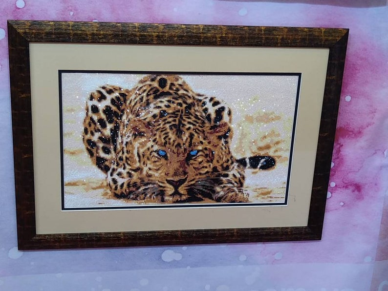 Paint With Diamonds 5D Diamond Embroidery Diamond Painting Kit FIRE LEOPARD African wild animals Square diamond painting Full Cover