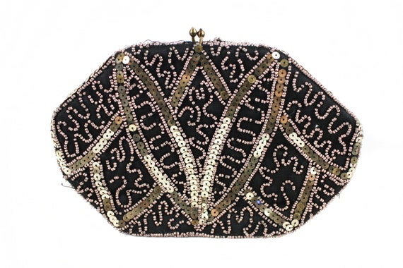 Vintage embroidered black gold and silver sequinne