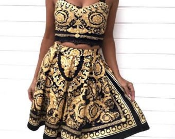 c9ce660d8201c Versace fabric pattern womens dress short dress