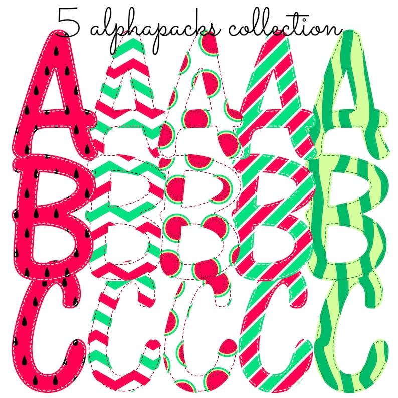 Watermelon Summer Alphabet Collection Faux Applique Sublimation Design Instant Digital Download AlphaPack Font Stripes Polka Dots Girl Sea