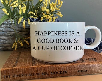 Extra Large Coffee Mug. Happiness Is A Cup Of Coffee And A Good Book. Coffee Bar Decor. Large Ceramic Mug. Add Your Own Customization.