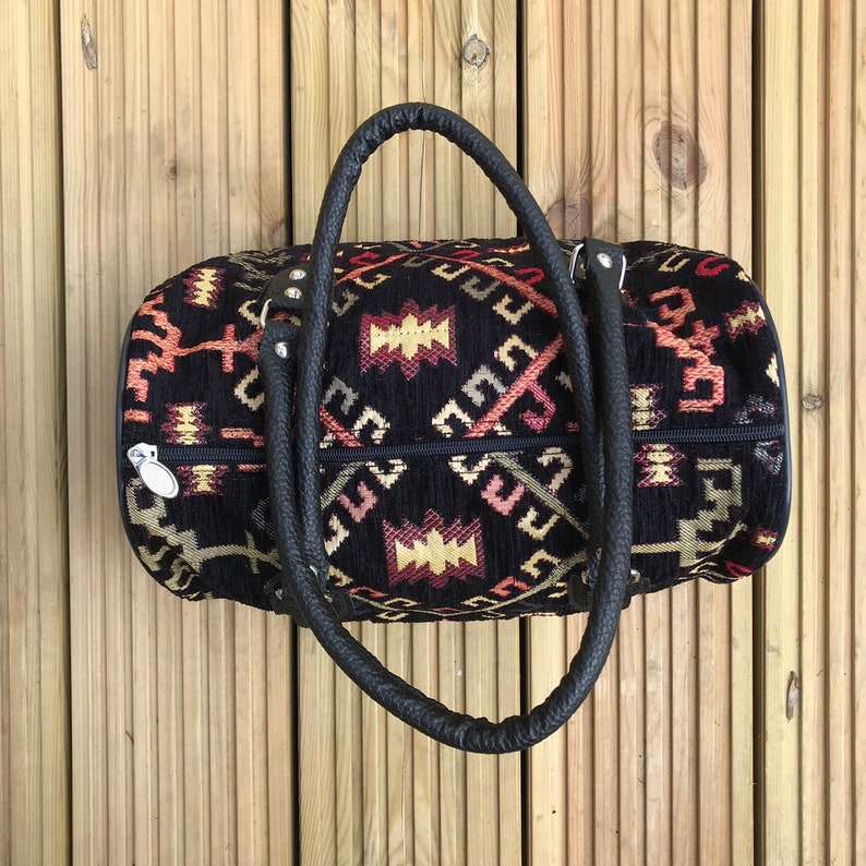 Free Purse Boho Vegan Handbag in Black Geometric Pattern