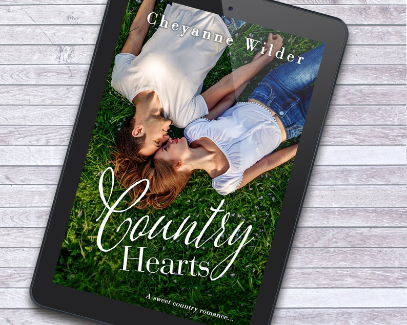 Happy Couple Laying in Grass Country Romance Customizable image 2