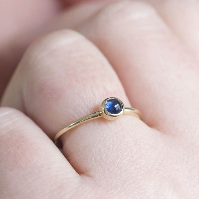 promise ring,genuine sapphire ring,women ring,gift for mom,solitaire ring,gift for mother Dainty ring,14K solid yellow gold minimalist ring