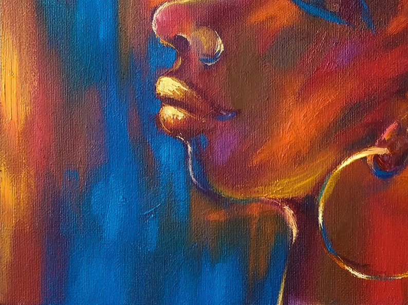 African American Woman Painting African Queen Original Art Black Woman Face Wall Decor Above Sofa Art by LanaLight S.