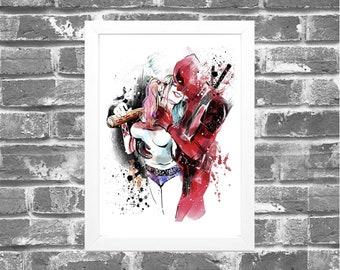 38175909d7f Framed Print - 2 Options - Harley Quinn - Deadpool - Marvel - Home Decor -  Prints - Red - Marvel Gift