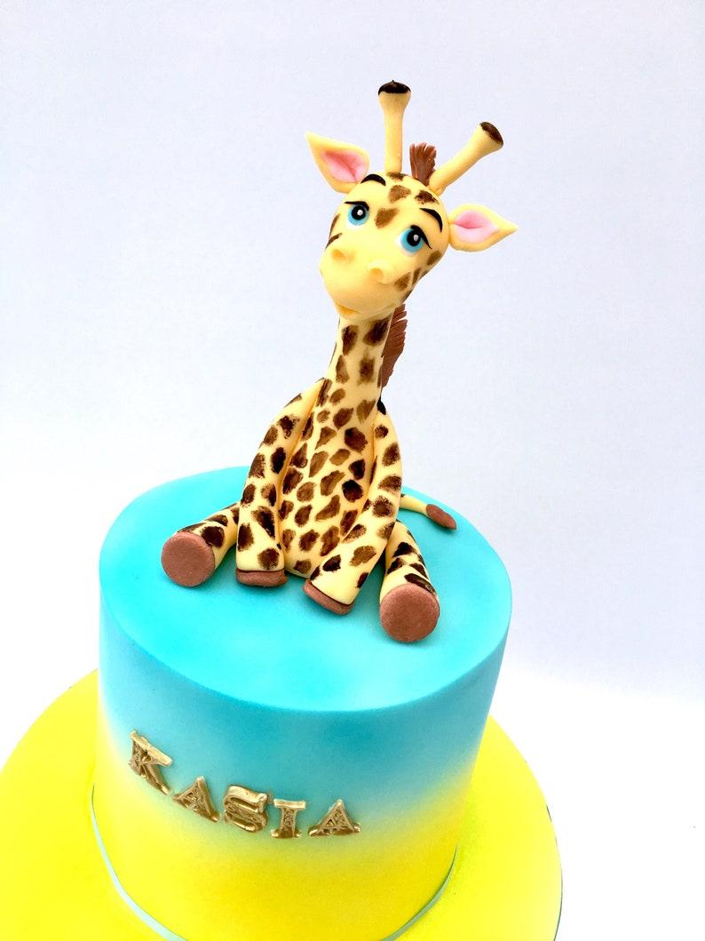 Giraffe edible cake decoration Birthday christening baby shower cake Topper