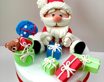 Christmas Santa Claus And Gifts Edible Cake Topper Set , Edible Cake Decoration