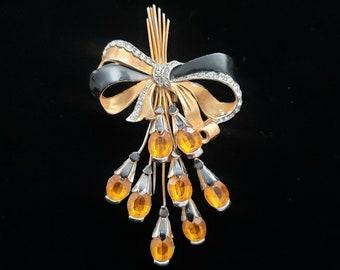 VINTAGE BOW and FLORAL Spray Fur Clip - Retro Flower Pin Clip - Topaz Floral Spray Clip