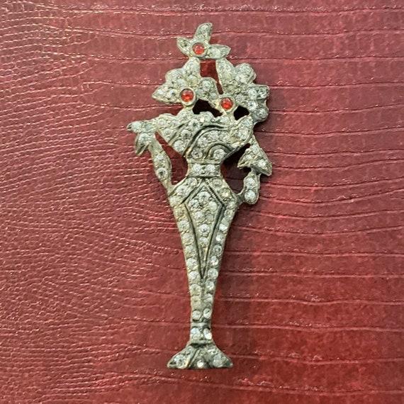 1930's Rhinestone Flower Vase Brooch
