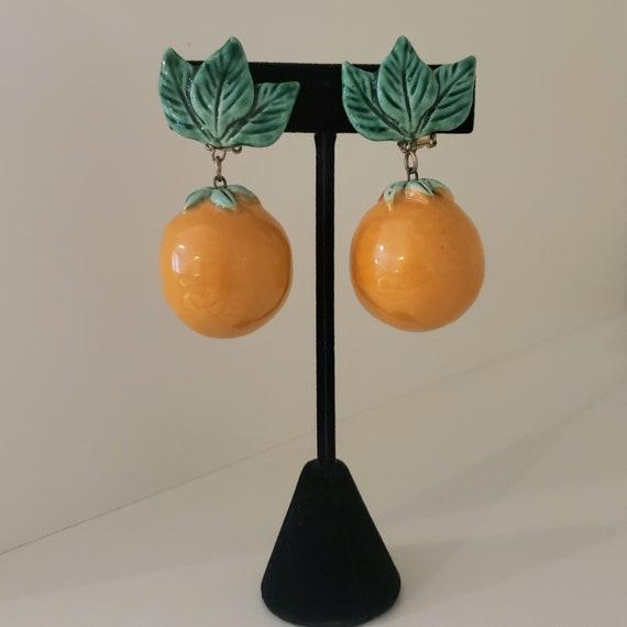 Mid-century Ceramic Orange Clip On Earrings